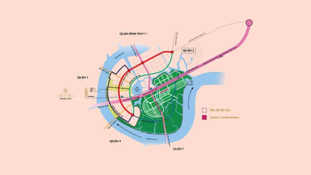 Vị trí khu đô thị sinh thái Sala