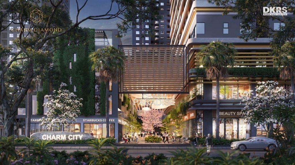 Dự án căn hộ Charm Diamond - Tiện ích - Phố thương mại Charm Bazaar